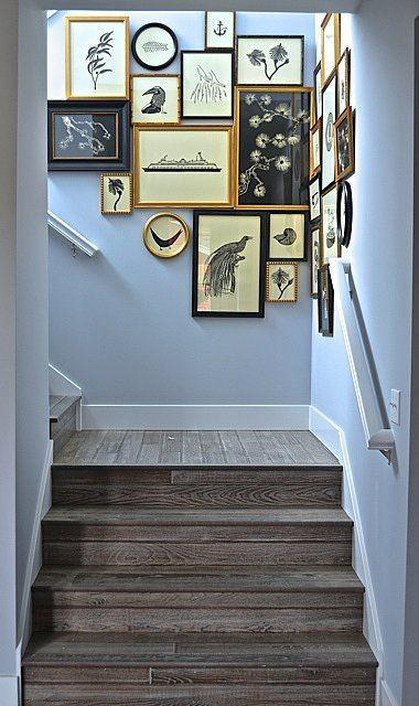 Creative staircase decor - with framed photos of various things