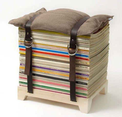 Creative stool - made of piled magazines