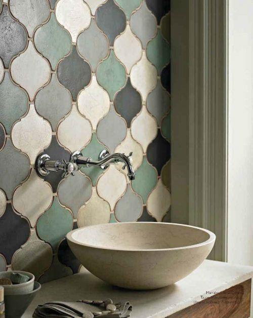 Creative tile design - inside a small bathroom