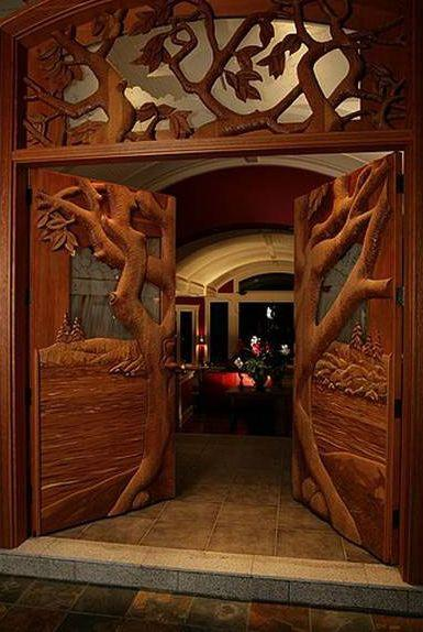 Creative wood entry doors - opening wide