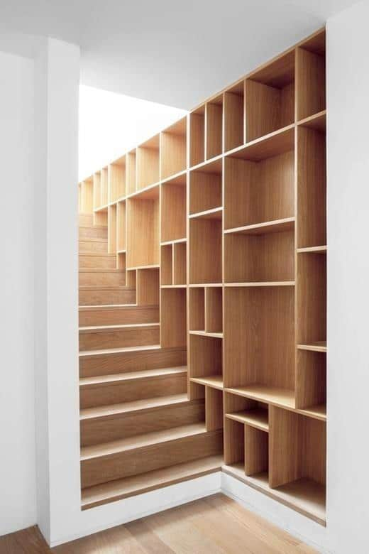 Creative wooden staircase - with shelves on the wall