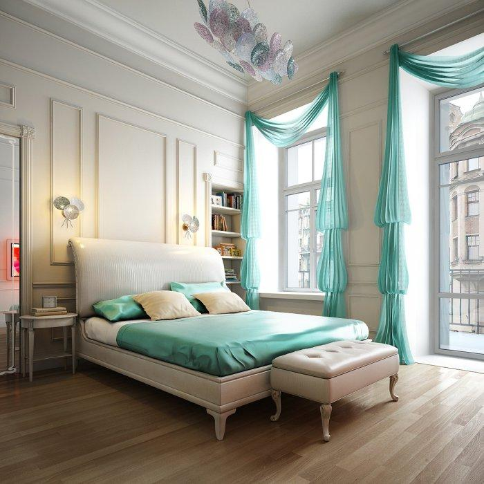 Cyan bedroom curtains - in a Paris apartment