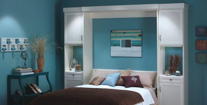 Cyan murphy bed - with white frames and cabinets