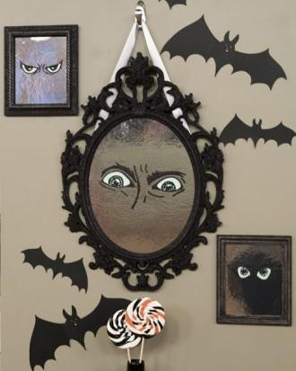 DIY Halloween mirror - with bat decals on the wall