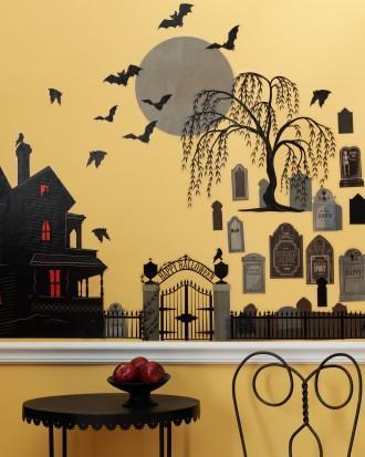 DIY Halloween wall decals - grave stones, trees and bats