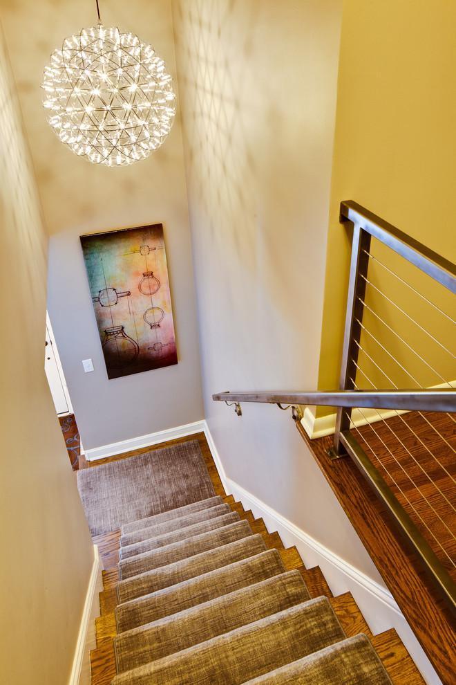 Dark yellow stair runners - in a modern home