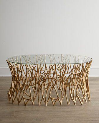 Designer Coffee Table With Base Made Of Tree Branches