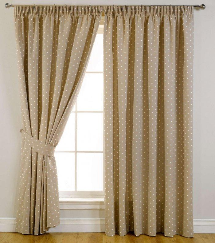 Dotted bedroom curtains - inside an elegant interior