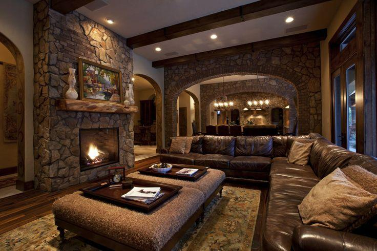 Expensive mansion living room - with fireplaces made of stone