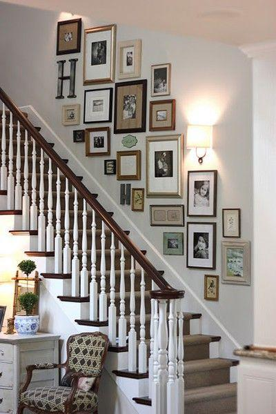 Family staircase wall design - with various images