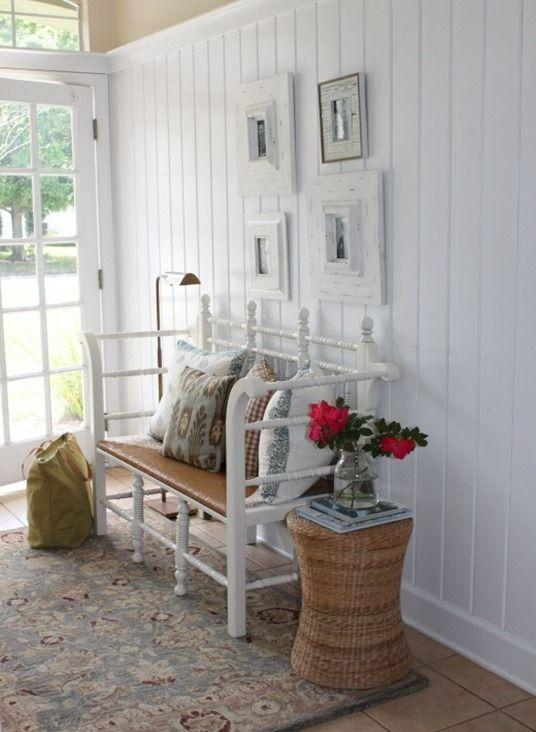 Farmhouse entryway bench - with lovely decorations