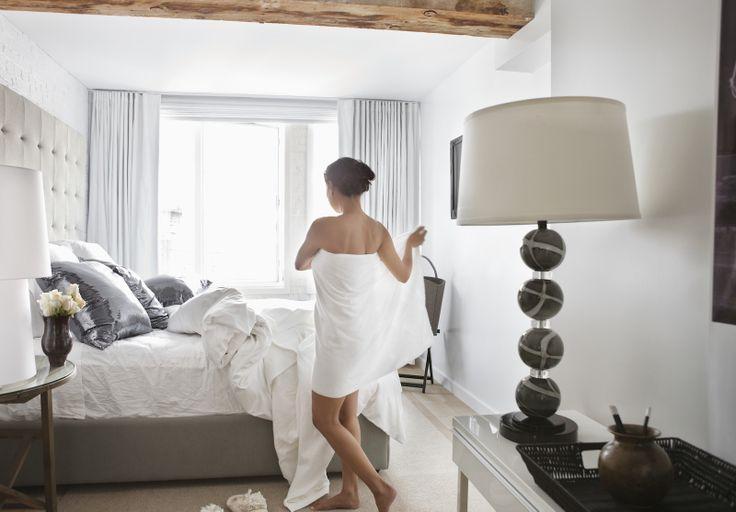 Feng shui bedroom - with woman preparing for sleep