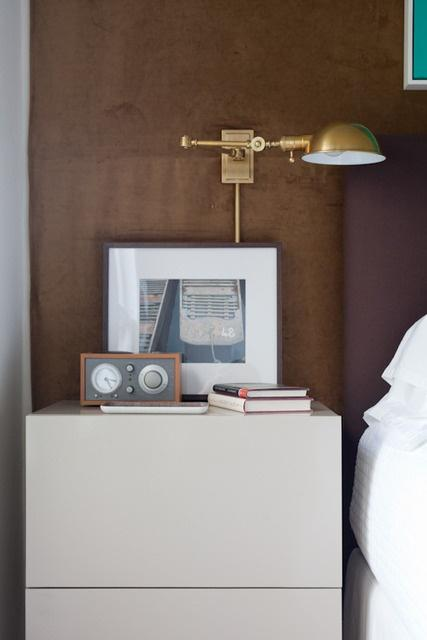 Feng shui bedside table - with lamp and clock on it