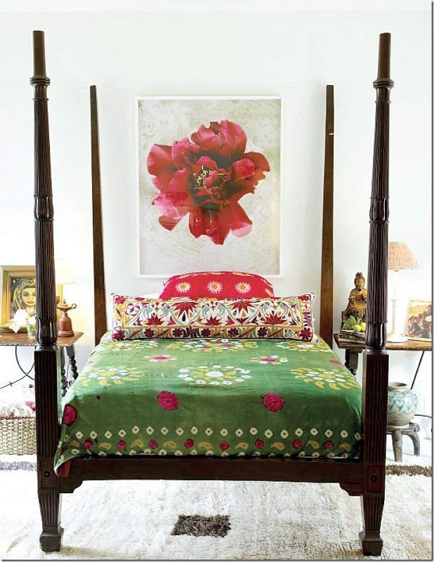 Feng shui decoration - red flower painting over the bed