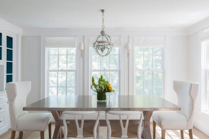 Feng shui dining room - with white chairs