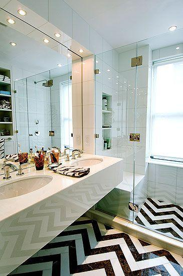 Fishbone floor made of tiles - in white and black color
