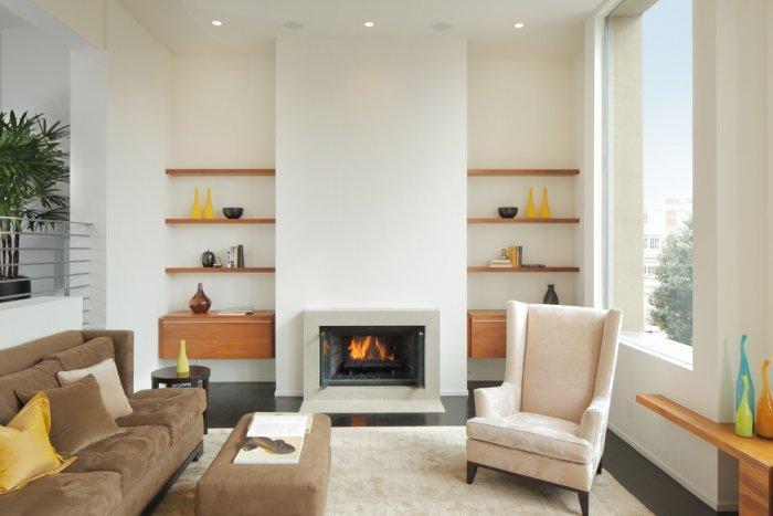 Floating wall shelves - inside a modern living room