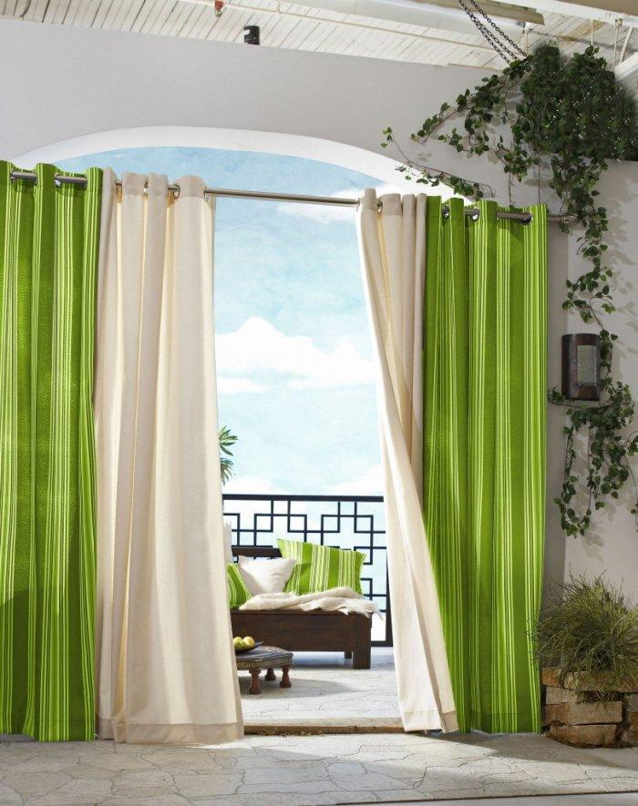 Fresh curtains - green and white colors