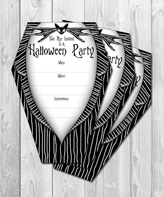 Frightening Halloween invitation - in black and white color