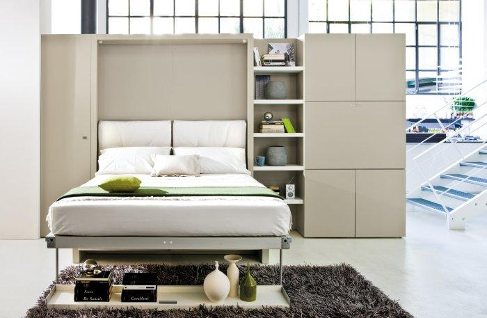 Functional white wall bed - isnde a modern home