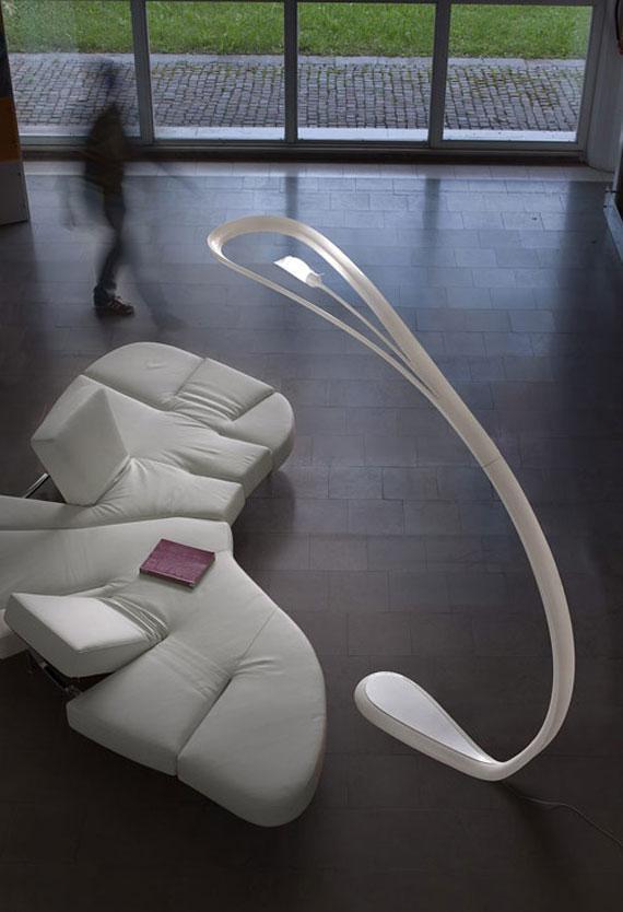 Futuristic floor lamp - in white color