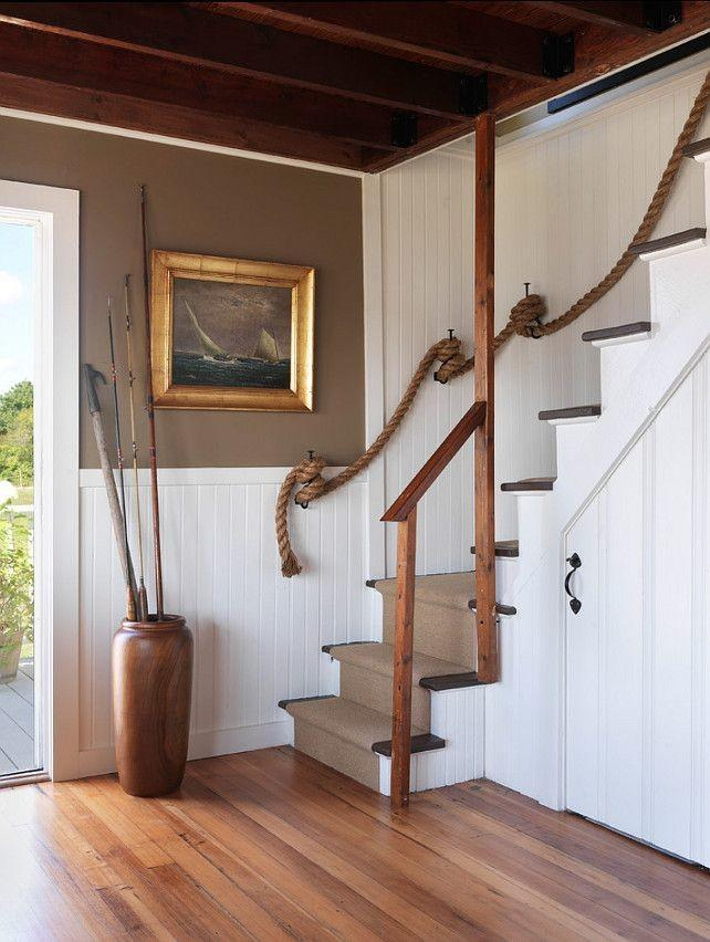 Getaway staircase with rope - used instead of ralings