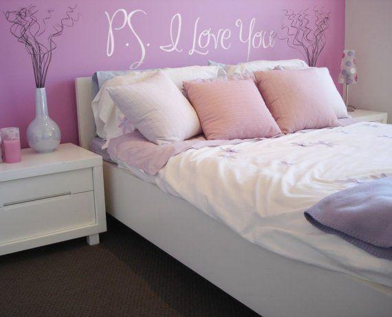 Girly pink bedroom - with love writing above the bed