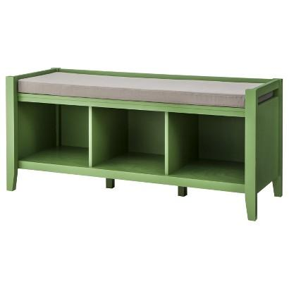 Green entryway bench - with soft seat on the top