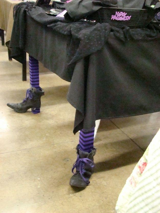 Halloween black table - with shoes on the legs