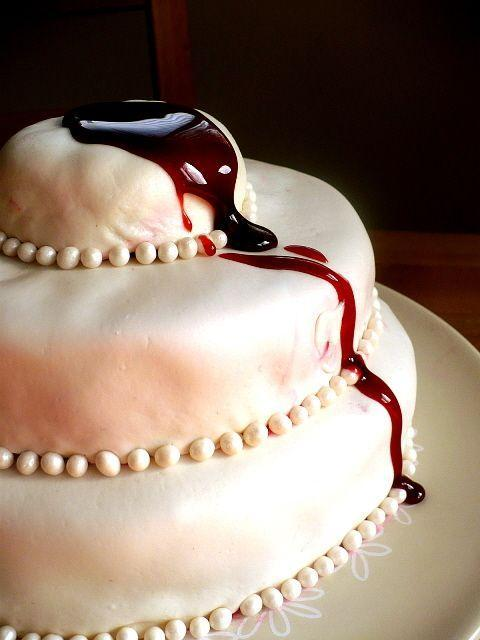 Halloween cake - with artificial blood on the top