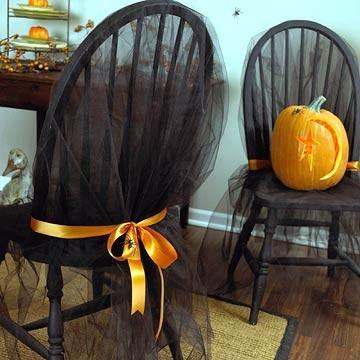 Halloween chairs - with black mysterious veil