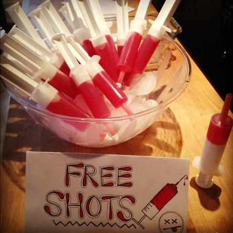 Halloween free shots - filled with artificial blood