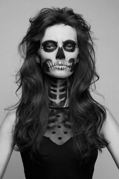Halloween girl makeup - with face looking like a skull