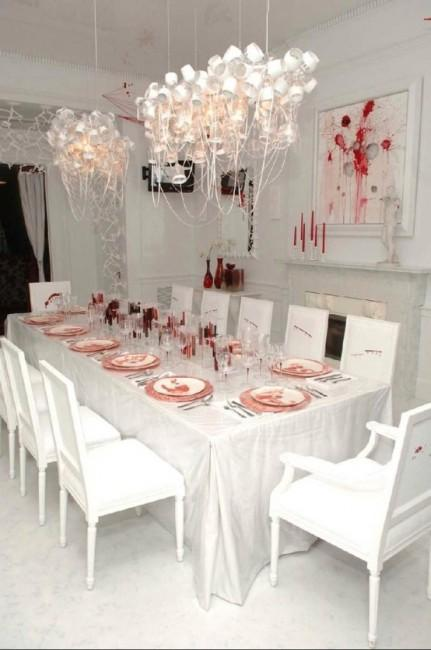 Halloween white table - with bloodish accents