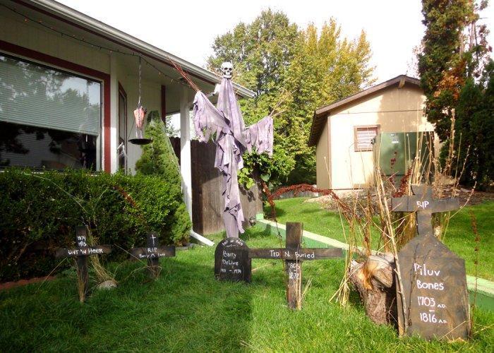 Halloween yard with crosses - looking like cemetery
