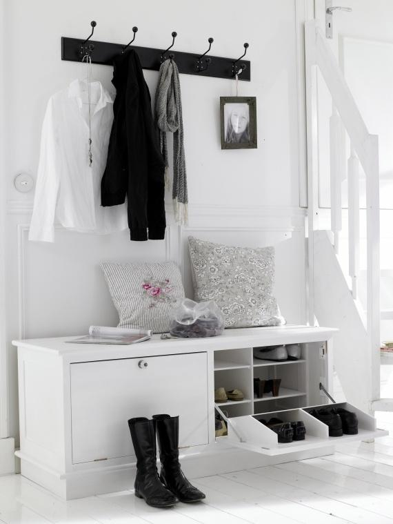 Hallway shoes rack - in white color made of wood