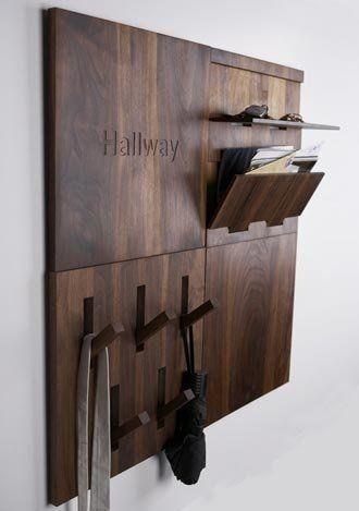 Hallway wooden hanger rack - with stylish modern design