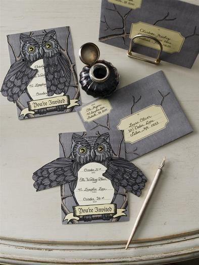 Handcut Halloween invitation - grey owl with writings