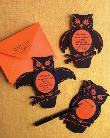 Handcut orange Halloween invitation - with owls and personalized message