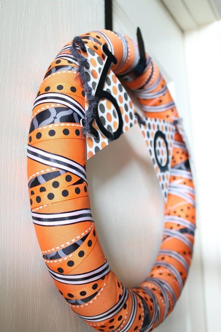 Handmade Halloween wreath - in orange color