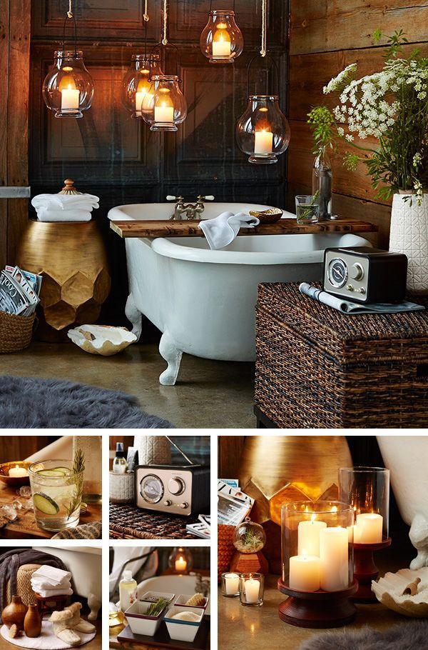 Hanging Candleholders   Inside A Modern Vintage Bathroom