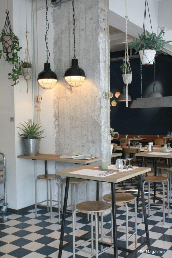 Industrial interior touches - in a white small cafe