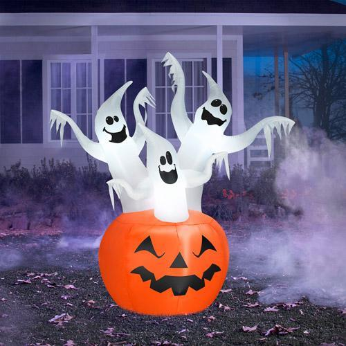 Inflatable Halloween ghosts - and pumpkin below them