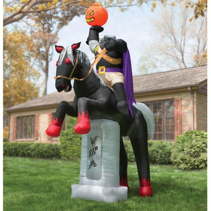 Inflatable Halloween horse rider - with pumpkin instead of head
