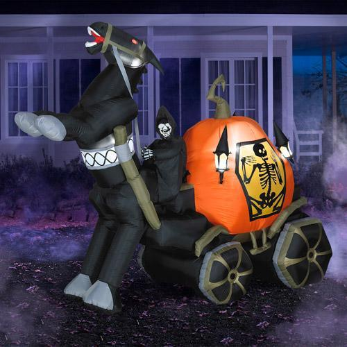 Inflatable Halloween truck - with black horse