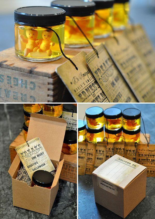 Interesting Halloween invitation - with small jars