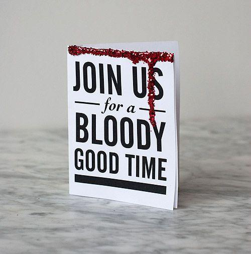 Join us Halloween invitation - with blood at the top corner