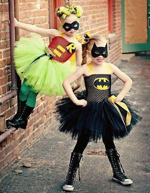 Kid girls in bathman and robin Halloween costumes - they are ready for the holiday & Halloween Costume Ideas - For Kids and Adults | Founterior