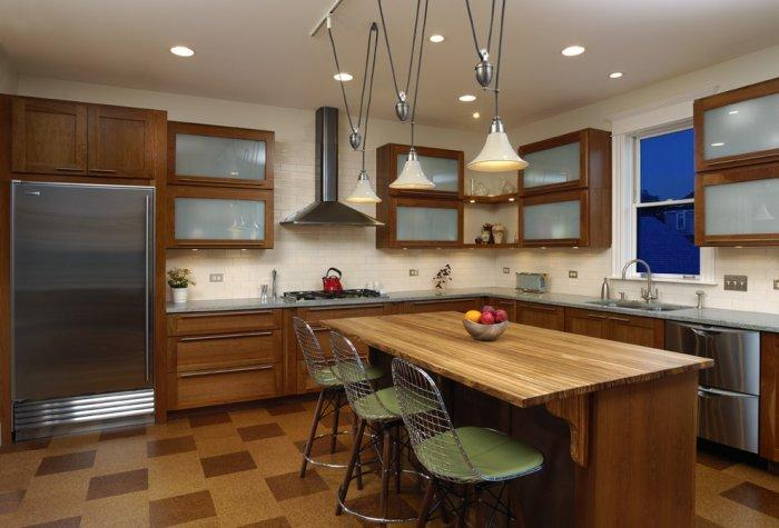 Kitchen with cork tile flooring - in two different colors