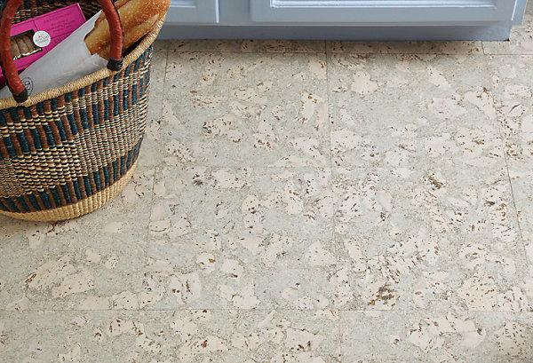 Light cork floor - with tiles of wooden material
